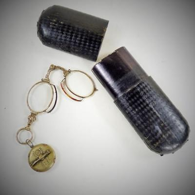 ANTIQUE PINCE NEZ GLASSES + RETRACTABLE CHAIN Patented BROOCH in original case