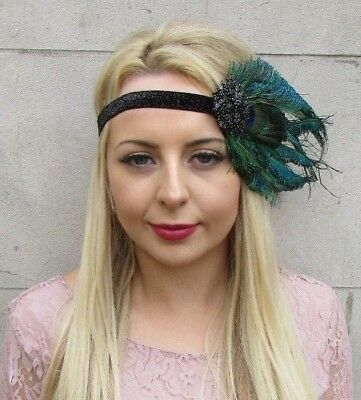 Black Green Peacock Feather Headpiece 1920s Headband Flapper Fascinator Vtg 4941
