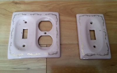 Vintage ceramic or porcelain set of switch plate Outlet covers pink  gold trim