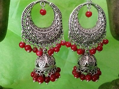 VINTAGE .925 silver overlay hand made in INDIA@red onyx gemstone@Jhumka Earrings