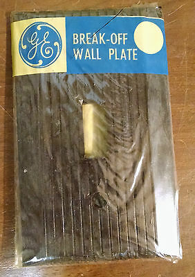 NOS Vintage GE Single Switch Cover Plate Ribbed Bakelite Brown deco