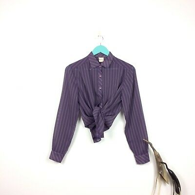 Sheer Purple Vtg Top 80s Stripe See Through Retro Blouse Chiffon Long Sleeve 12