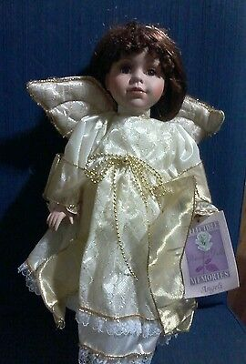 Collectible Memories ANGELI Porcelain Doll Brunette  w/Angel Wings
