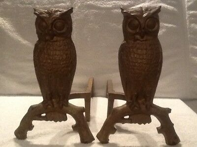 Pair Owls  Andirons Untey Firedogs Vintage Antique Cast Iron Gold Patina