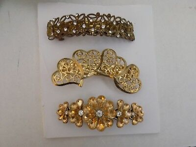 Lot of 3 Vintage Assorted Hair Barrettes Ornate Hearts Peach Color Rhinestones