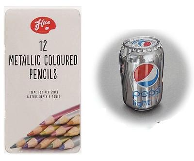 12 Pencils  Metallic Art Artist Picture Drawing Sketching Coloured Pencil Draw