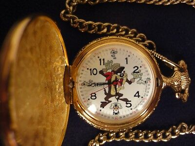 "Tasmanian devil Taz pocket watch 15"" chain Looney Toons ACME New battery"