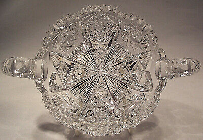 ABP American Brilliant Period cut glass Double Handled Nappy Pit Kins & Brooks
