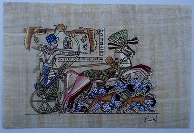 """From Egyptian Art Caravan Egyptian handpainted Papyrus painting """"King Tut at War"""