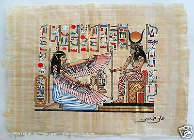 Papyrus Painting From Egyptian Art Caravan of Hathor & Isis