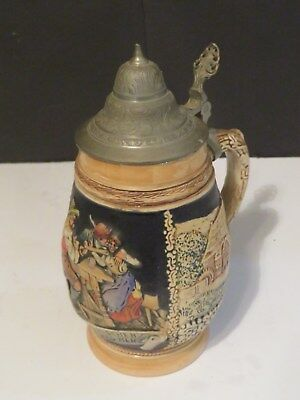 Traditional Beer Stein Made In West Germany Tavern Scene Pewter Lid