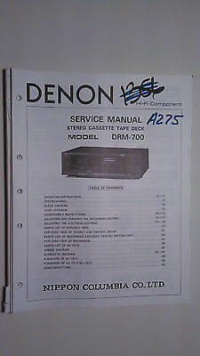 Denon drm-700 service manual original repair book stereo tape player