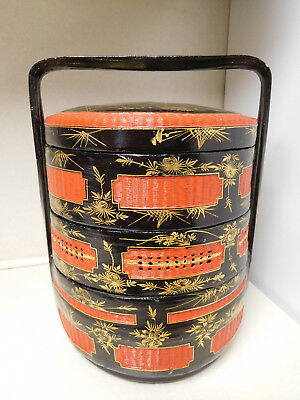 Vintage Chinese Red Black Gold Lacquer 3 Tier Wedding Basket Box Stackable
