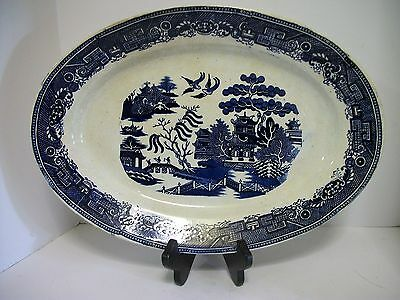 """15"""" Blue Willow Platter GREAT Antique Display Crazing Imperfect No Chips Cracks"""