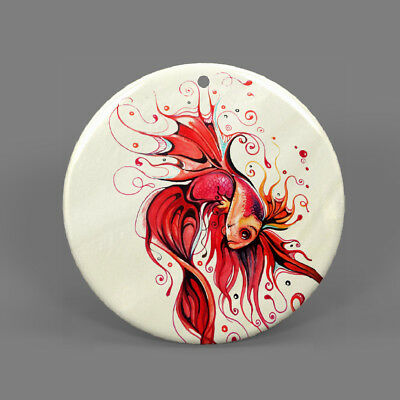 Fashion Jewelry Pendant Necklace Red Fish Shell J1707 1065