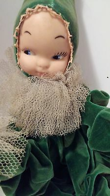 Vintage 1950's Rubber Head Pixie Elf Girl Green Velour Poseable Bed Doll