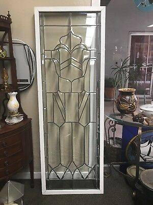 "CLEAR BEVELED STAINED GLASS WINDOW PANEL 69"" x 24"""