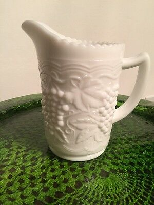 "Imperial Glass Co. White Milk Glass Pitcher; Raised Grape And Leaf Pattern 6""h"