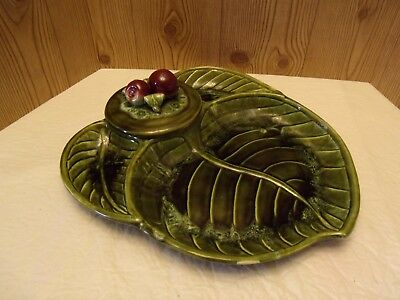Vintage Wade of California Pottery Large Snack Tray w/Lid,Leaf & Apple Design