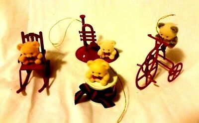 Lot Christmas Ornament Vintage Flocked Teddy Bear Avon Collection 4 Red metal