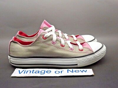 9a2858c106ab Converse All-Star Low OX CT Double Tongue Grey Pink Youth Canvas Shoes sz 3
