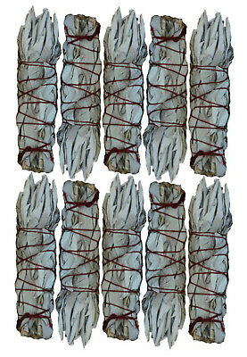 MINI 10 Pack White Sage Smudge Sticks - Lot of 10 Mini Wands - SK WHITE SAGE