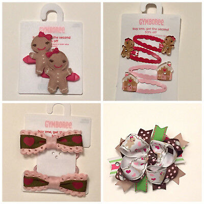 NWT Gymboree Gingerbread Girl U PICK hair clips, hair pony-os, M2M bow