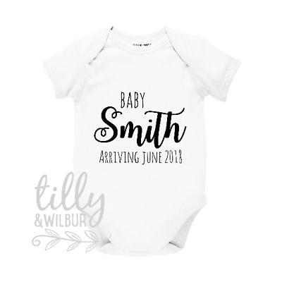 Personalised Pregnancy Announcement Baby Bodysuit, Surname & Date Reveal Romper