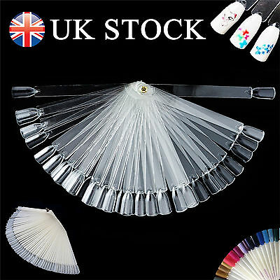 50 Nail Art Tips Colour Pop Sticks Display Fan Clear False Practice MALL