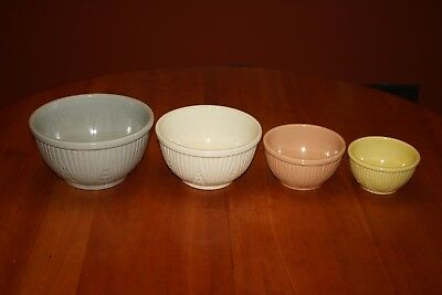 "Robinson Ransbottom RRP Roseville Nesting Mixing Bowls 5"", 6"", 8"", 9"" 1503 1930s"