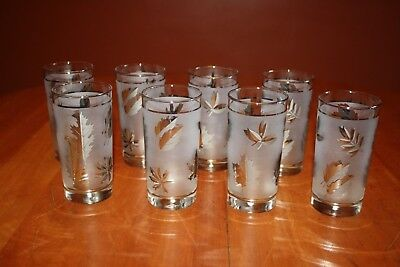 Libbey Silver Foliage Eight 12 oz Flat Glass Tumblers and Two 6 oz Juice Glasses