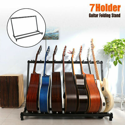 7 Way Multi Guitar Stand Foldable Acoustic Electric Bass Guitar Rack Display UK