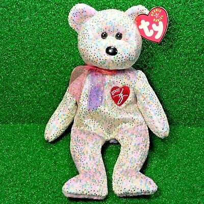 Ty Beanie Baby 2001 SIGNATURE BEAR Plush Toy RARE NEW RETIRED - Free Shipping