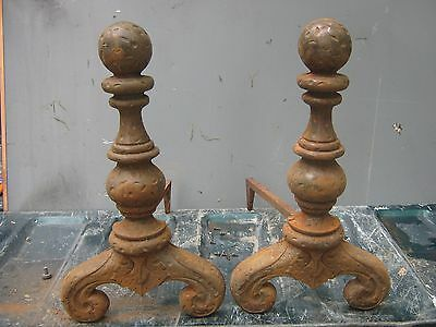 "Ant/Vtg CAST IRON Fireplace ANDIRONS  Pair Set 19 1/2"" Hammered Cannon Ball Top"