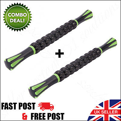 2 x Muscle Roller Massage Stick Fitness Sports & Physical Therapy Recovery SALE