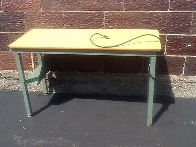 Vintage Green Metal  TOLEDO FURNITURE CO Industrial Desk W/ Electric - Very Good