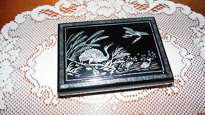 Vintage Black Laquer Mother Pearl Jewelry Ring Box