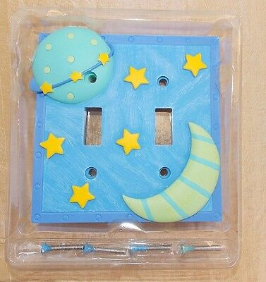 Moon Stars Double Switch-plate Toggle Cover New Celestial Twinkle Moon Resin
