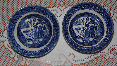 pr Antique Buffalo Pottery Traditional Blue Willow Ware Berry Bowls