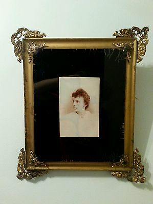 Antique Vintage Picture Frame Gold Filigree & Wood