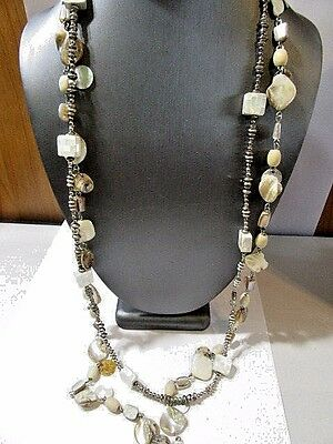 Lot Of Two Strands Contemporary Shell Necklace Chains Mother Of Pearl Fluted