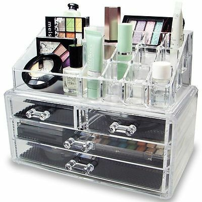 Clear Acrylic Cosmetic Organizer 4 Drawers Makeup Case Storage Holder Box US BP