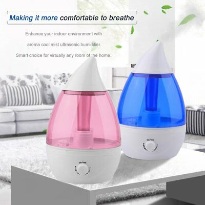 Water Drop Cool Mist Ultrasonic Air Humidifier Aroma Diffuser For Home Office BP