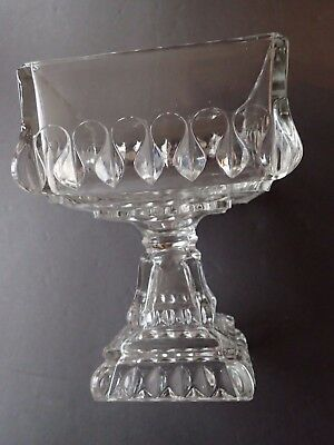 VINTAGE Heavy Clear Glass Tall Fruit Compote circa 1940's