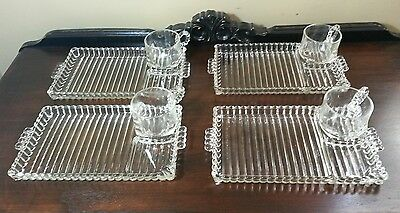 4 Vintage Sets Hazel Atlas Orchard Crystal Luncheon Snack Trays
