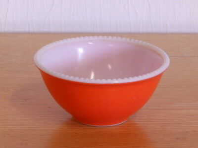 "Vintage McKee Red Fired-on Milkglass Beaded Edge 5"" Mixing Nesting Bowl"