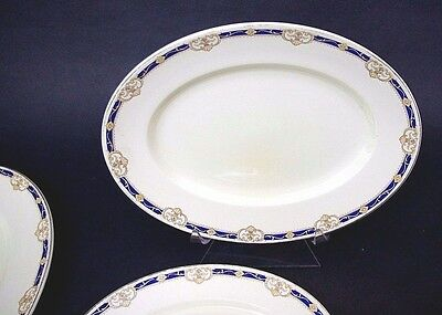 3 Piece Set of Antique Woods & Sons Ivory Ware Cobalt Blue Gold Serving Platters