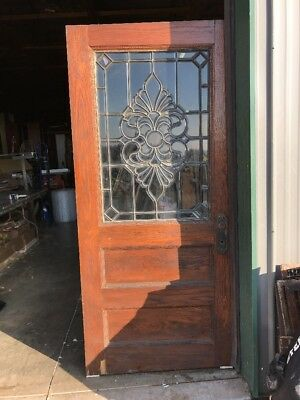 An 420 Gorgeous Antique All Oak Entrance Door 35.75 X 79.25