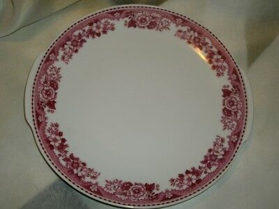 Vintage Mitterteich Red / White Floral China Serving Plate w/Handles