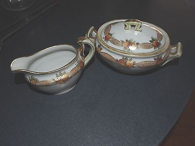 Vintage Hand Painted Nippon Creamer And Covered Sugar Bowl